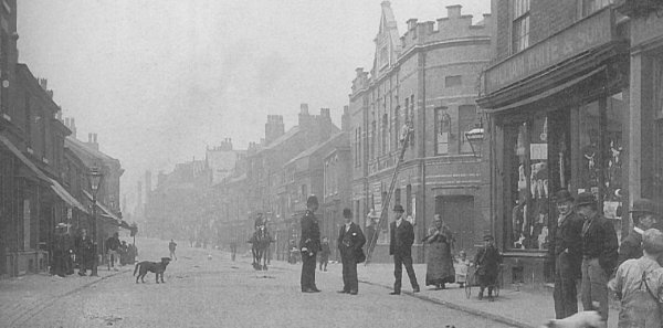 Middle Hillgate at the Junction of Mottram Street; circa 1900