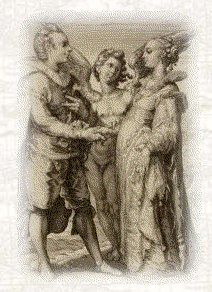 Marriage in the 17th century. Allegory of Marriage for Pleasure. From an engraving by Jan Saenredam. 1565-1607